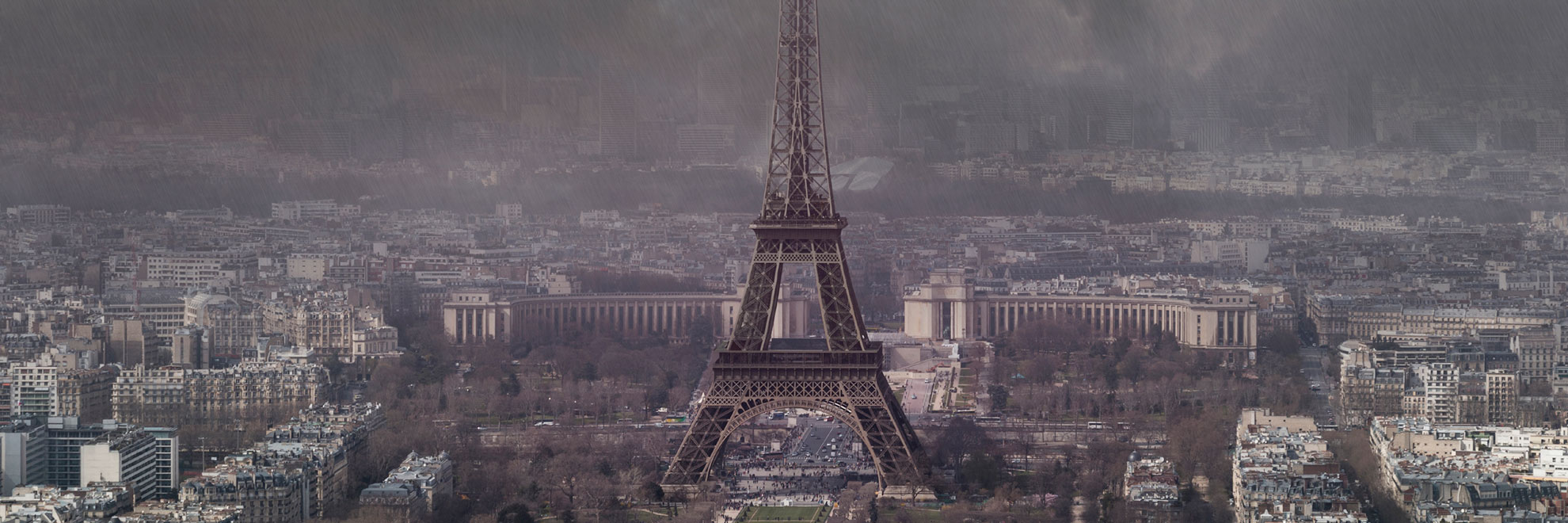 polluted Eiffel tower