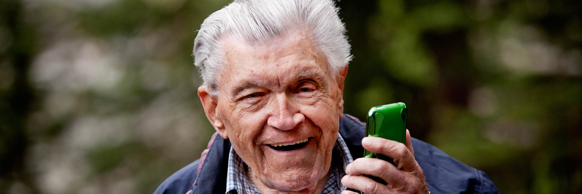 old man with mobile phone