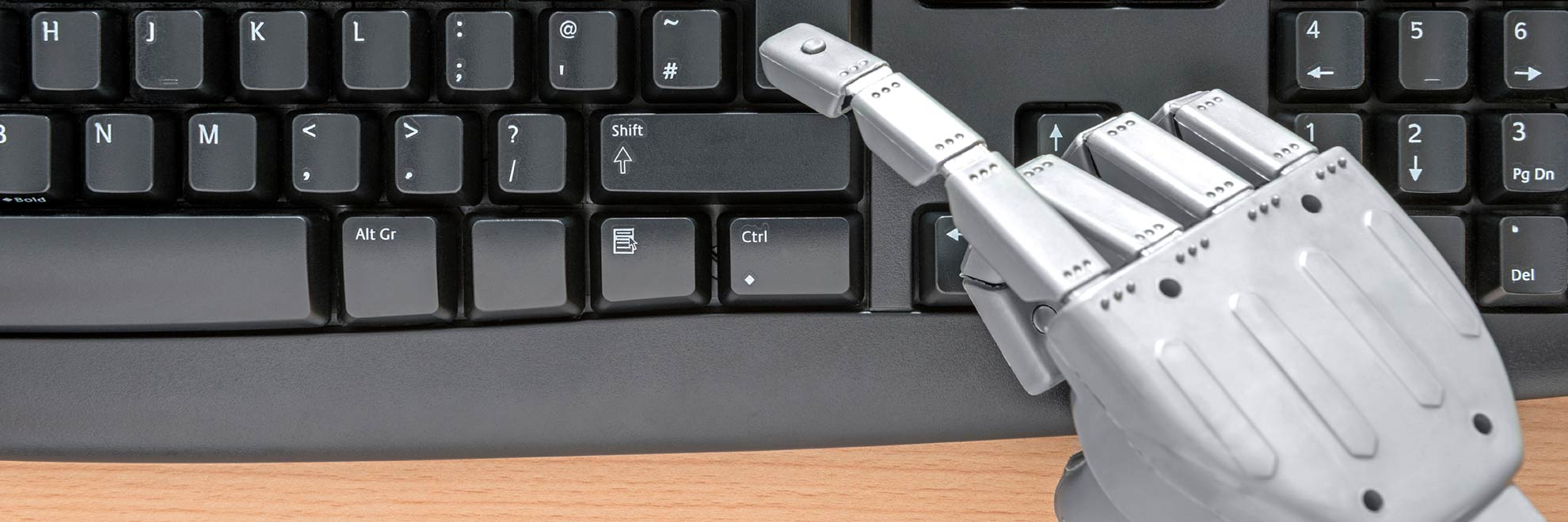 robot hand using keyboard