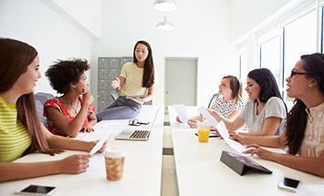 Young women meeting
